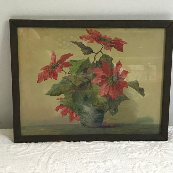 Vintage framed poinsettia print . lithography